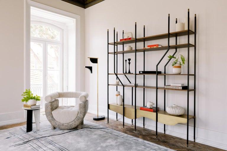Modern Mel Armchair Wood Brass Beige Jacquard Velvet Pearl Cotton Linen Bouclé Fabric For Sale