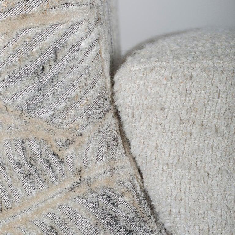 Contemporary Mel Armchair Wood Brass Beige Jacquard Velvet Pearl Cotton Linen Bouclé Fabric For Sale