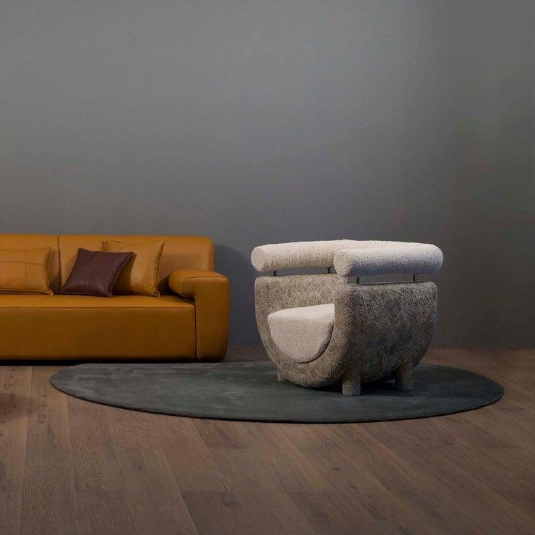Mel Armchair Wood Brass Beige Jacquard Velvet Pearl Cotton Linen Bouclé Fabric In New Condition For Sale In Cartaxo, PT