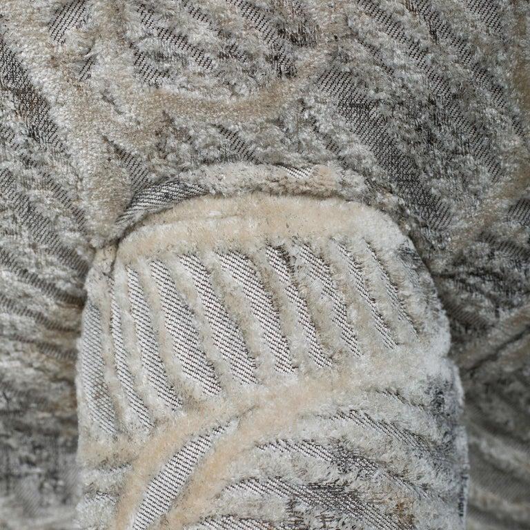 Mel Armchair Wood Brass Beige Jacquard Velvet Pearl Cotton Linen Bouclé Fabric For Sale 2