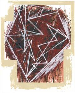 1984 Mel Bochner 'Twenty-Five Years' Oversize Brown,Red USA Serigraph