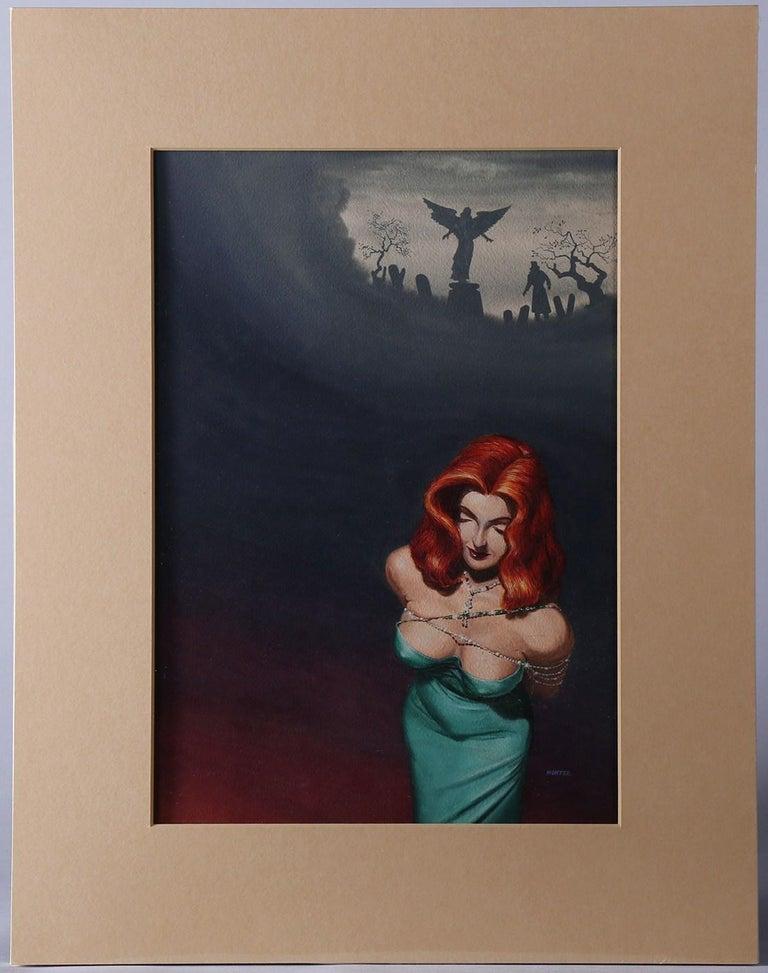 The Broken Angel - Black Figurative Painting by Mel Hunter