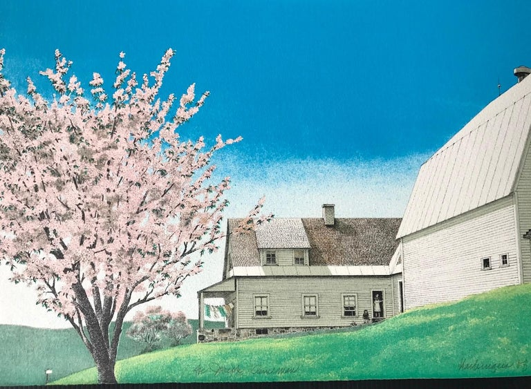 HARBINGER OF SPRING Signed Lithograph, Farm House Landscape, Blue, Pink, Green - Print by Mel Hunter
