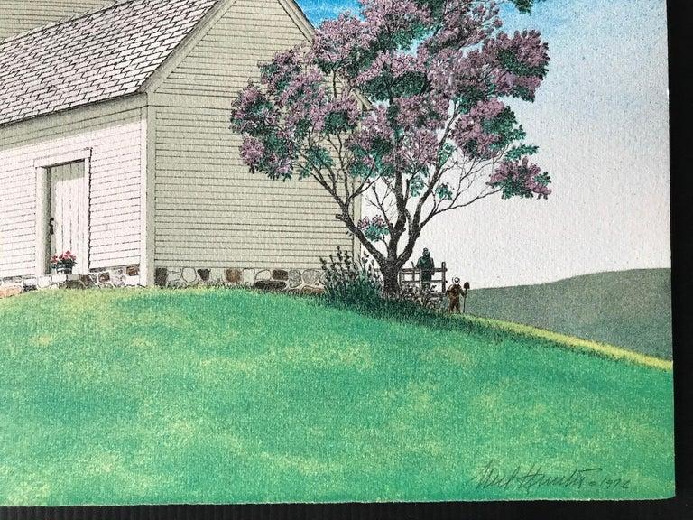 HARBINGER OF SPRING Signed Lithograph, Farm House Landscape, Blue, Pink, Green - Realist Print by Mel Hunter