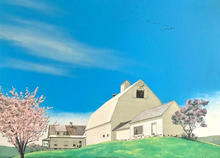 Mel Hunter Landscape Print - HARBINGER OF SPRING Signed Lithograph, Farm House Landscape, Blue, Pink, Green