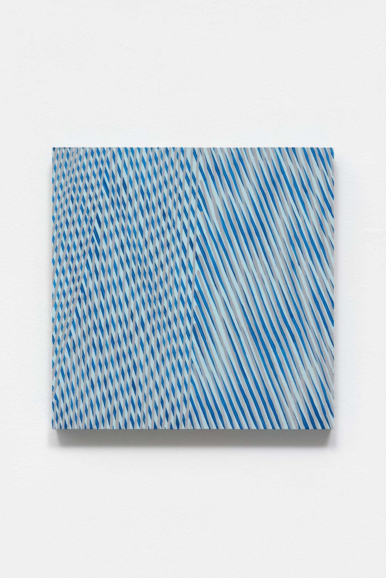 Untitled (maraca), blue abstract optical painting, acrylic on panel, 2020