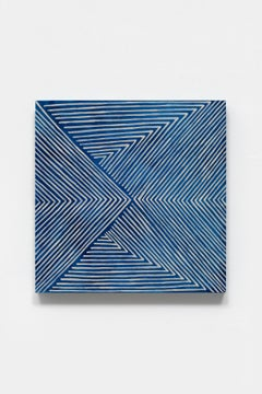 Untitled (wrap), blue abstract optical painting, acrylic and mica on panel, 2020