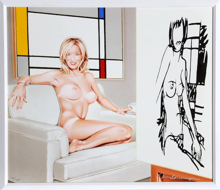 Mel Ramos Nude Print - Tea at 5pm (Mondrian and Wesselmann)