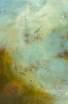 Bloom by Mel Rea, Framed Encaustic and Resin on Board Abstract Painting