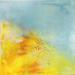 Side by Side by Mel Rea, Encaustic and Resin on Board Abstract Painting