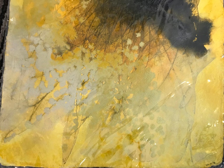 Sing It to Me I, Mel Rea Abstract Ink, Acrylic and Powdered Graphite on Paper - Yellow Abstract Painting by Mel Rea