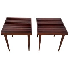 Mel Smilow Slat Walnut Side Tables