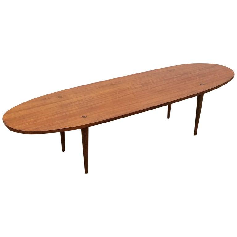 Bassett Walnut Surfboard Coffee Table: Mel Smilow Surfboard Coffee Table For Sale At 1stdibs