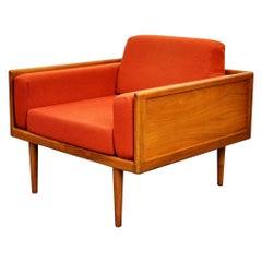 Mel Smilow Walnut and Burnt Orange Wool Case Lounge Chair