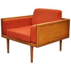 Mel Smilow Walnut and Orange Wool Case Lounge Chair