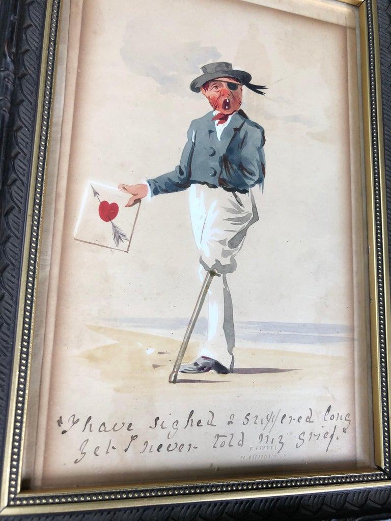 19th century watercolor on paper featuring a sailor with a peg leg and eye patch holding a valentine and a slogan beneath. Presented in a period frame. The paper is stamped at the lower right. Found in New England, but most likely English.