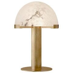 Melange Desk Lamp, Brass with Carved Natural Alabaster Shade by Kelly Wearstler