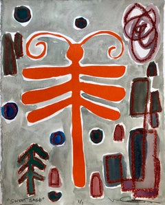 Sweet Sage, Melanie Yazzie mixed media paper dragonfly orange red green gray