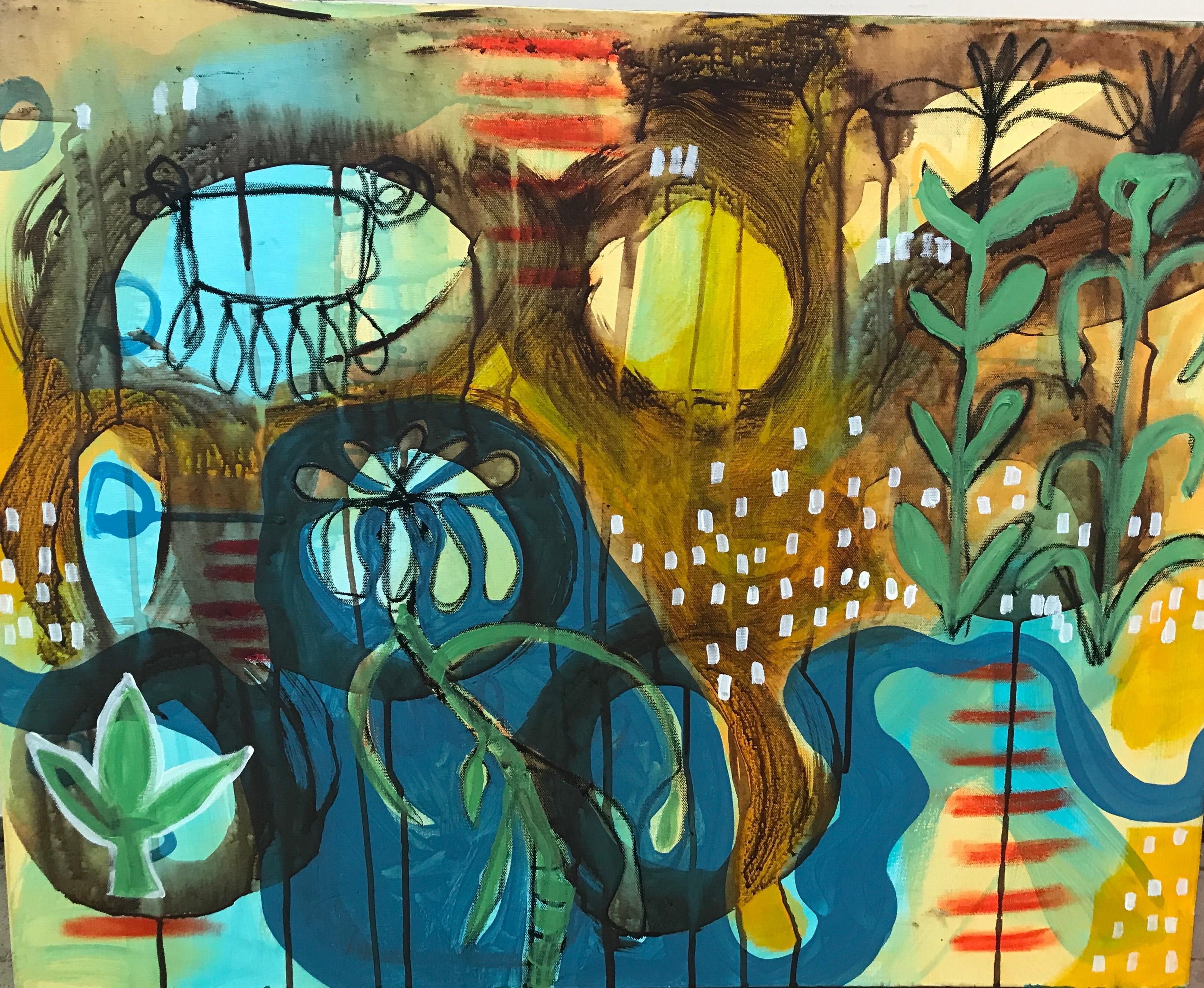 Care Bonding, Melanie Yazzie mixed media on canvas plants blue yellow