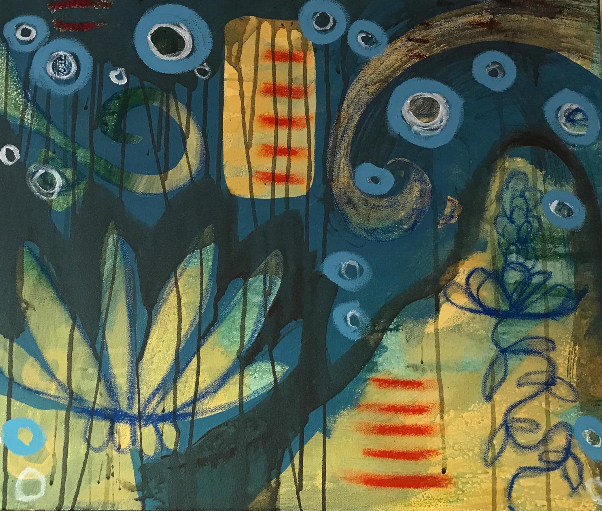 Prayer Path by Melanie Yazzie painting blue, green, red  yellow botanical Navajo