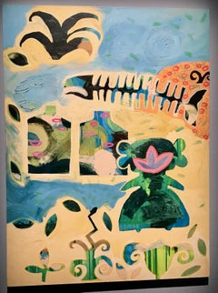 Remembering Brittany, painting, Melanie Yazzie, Wheelwright Museum, Navajo, blue