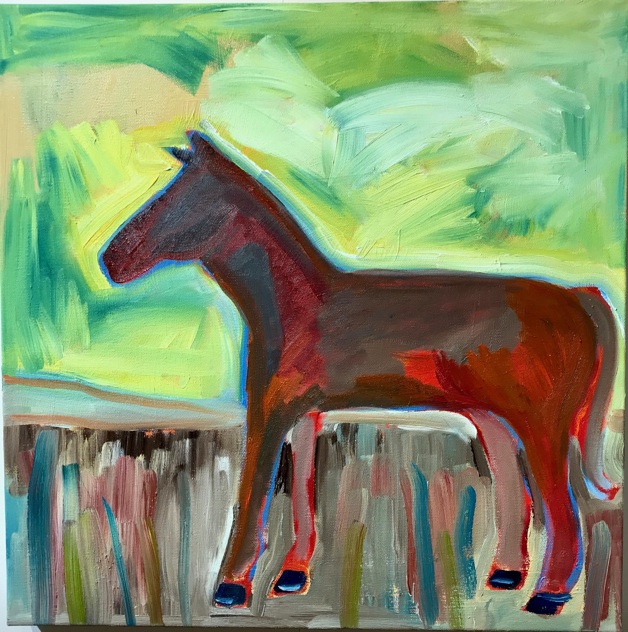 Spring Day, horse painting by Melanie Yazzie, Navajo, red green yellow brown