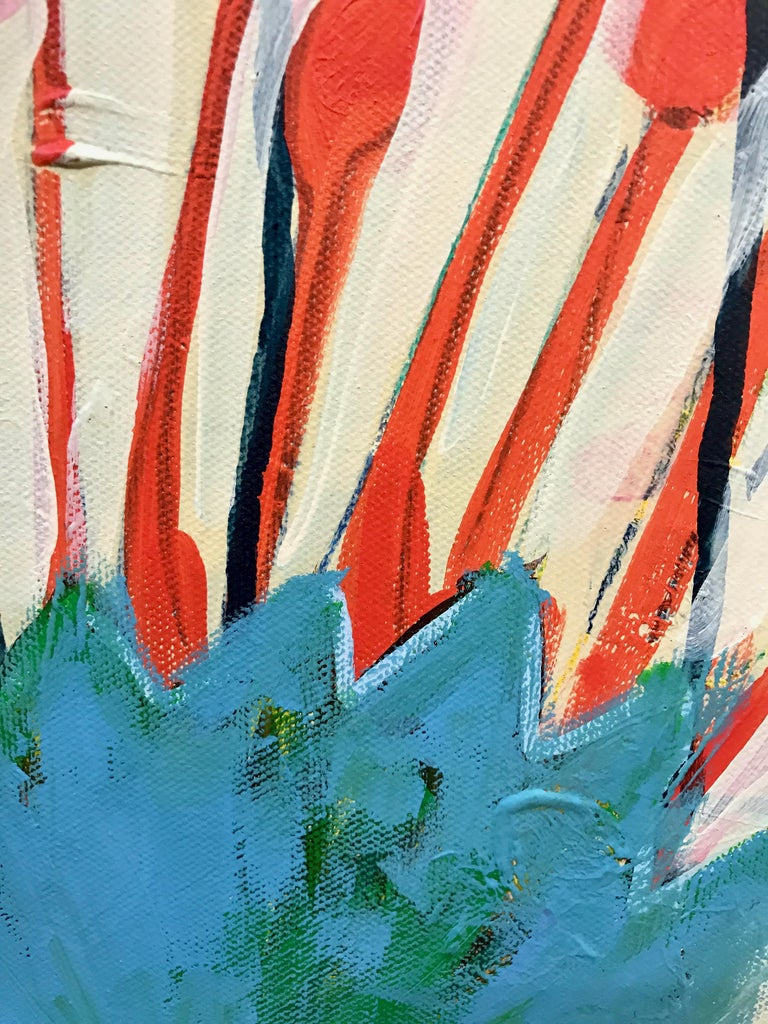 Spring in Colorado, pink, red, white,blue green abstract painting Melanie Yazzie - Gray Landscape Painting by Melanie Yazzie