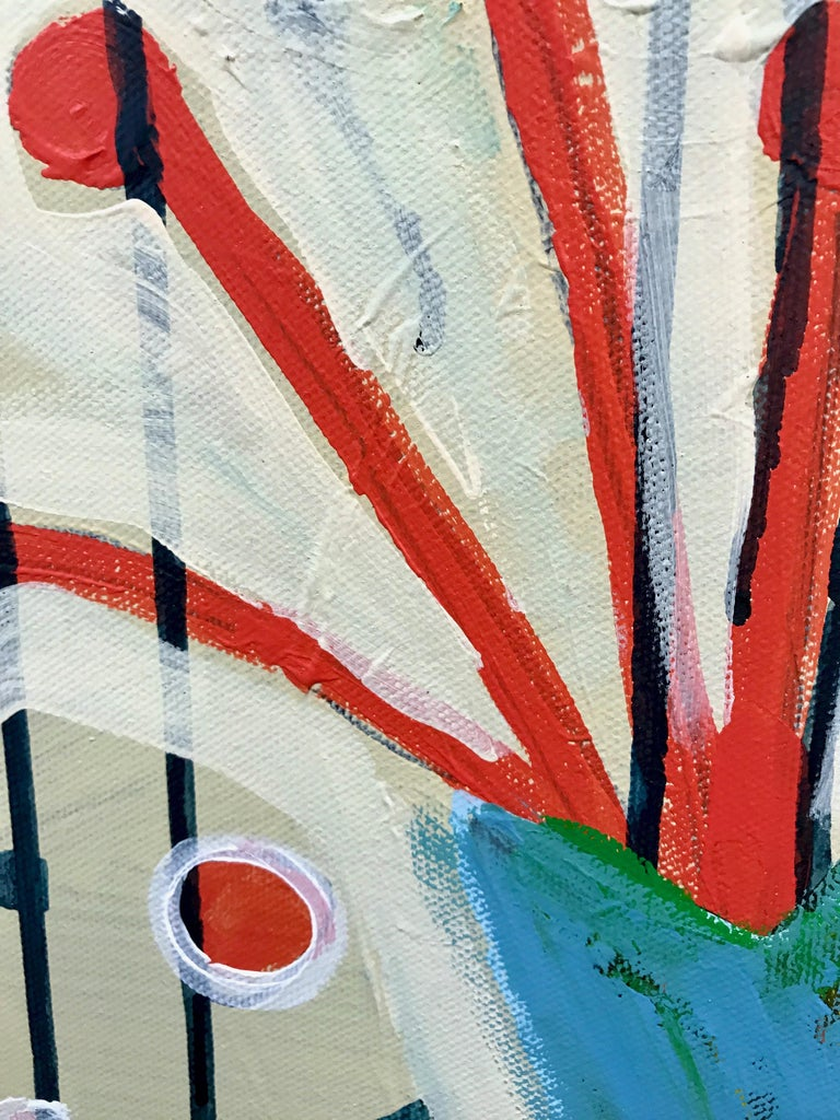 Spring in Colorado, pink, red, white,blue green abstract painting Melanie Yazzie  MELANIE YAZZIE, who has been represented by our gallery since 1994, is talented as a sculptor, painter and printmaker. She is a university professor who teaches