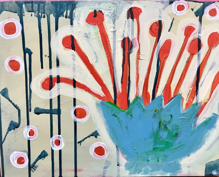 Spring in Colorado, pink, red, white,blue green abstract painting Melanie Yazzie - Painting by Melanie Yazzie