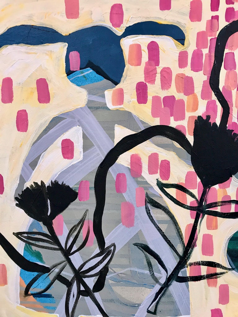 Summer Walk, Melanie Yazzie painting, rabbit flowers pink blue black yellow 4