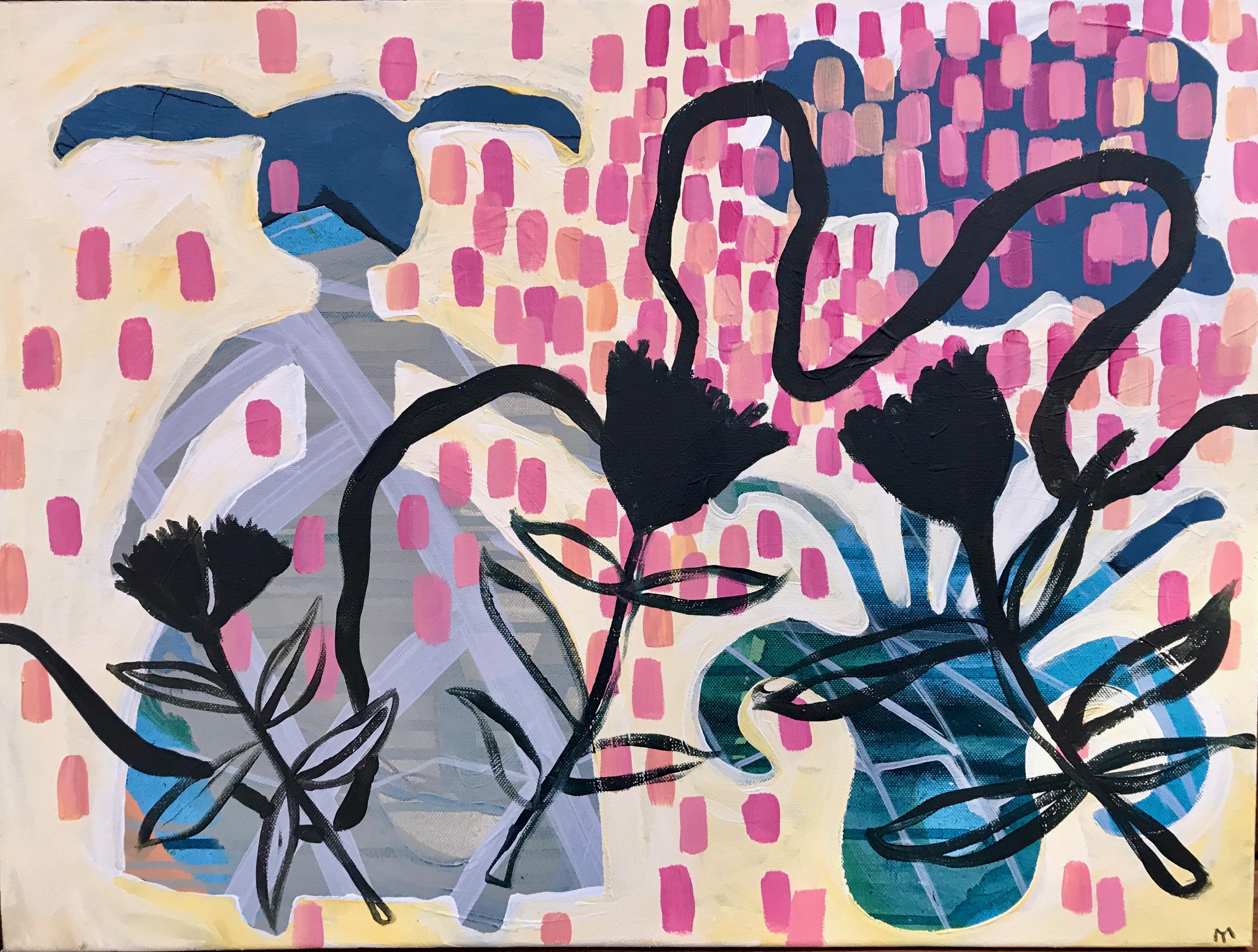 Summer Walk, Melanie Yazzie painting, rabbit flowers pink blue black yellow