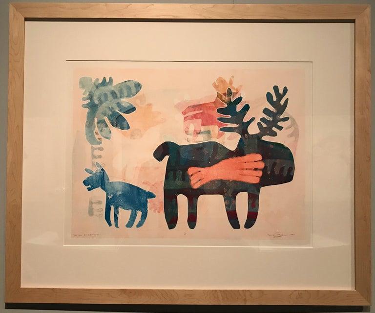 After Fairbanks, Melanie Yazzie unique framed monotype, moose orange blue  white