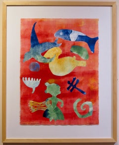 Carry It Forward, Melanie Yazzie Navajo monotype red blue green fish dragonfly