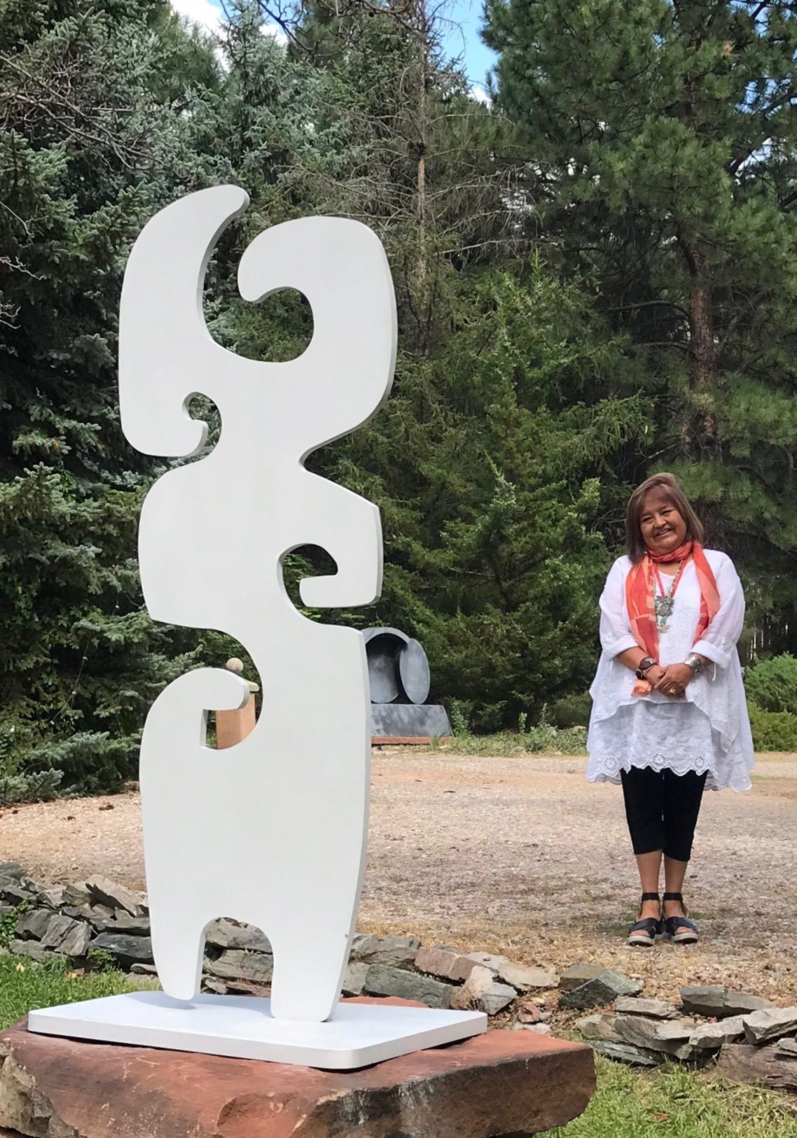 Grandmother, Melanie Yazzie totem silver abstract sculpture Navajo contemporary