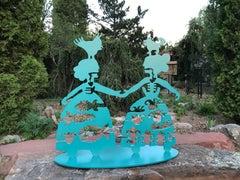 Making New Friends, Korean, Navajo Women, Sculpture, Teal, Fish, Corn, Bird, Dog