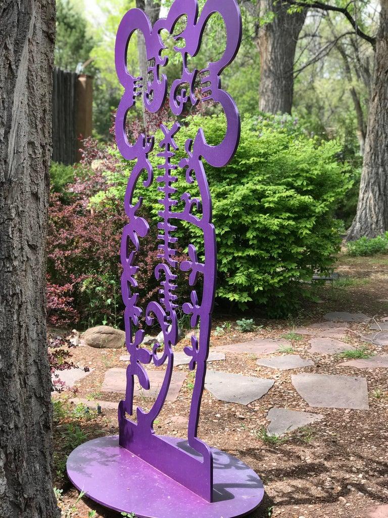 Pollen Keeper II Melanie Yazzie, aluminum sculpture, Navajo, purple, vertical For Sale 1