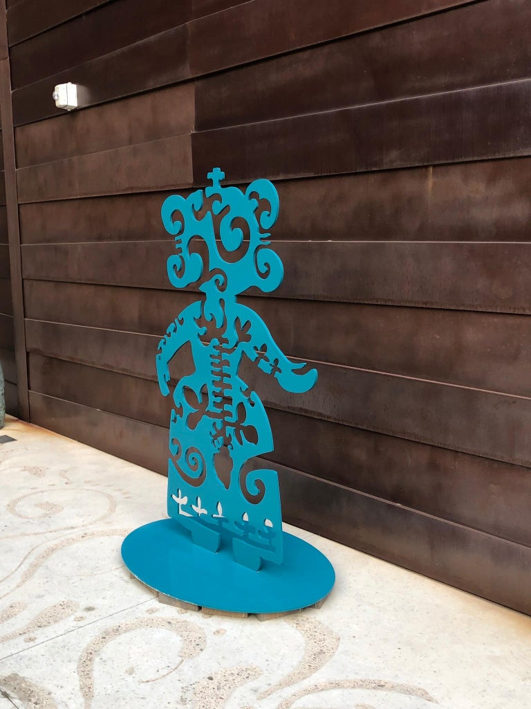 Strength From Within, aluminum, turquoise, Navajo, sculpture, Melanie Yazzie  limited edition of 8 powder coated aluminum  This sculpture is a self-portrait of my state of mind when I am working on fixing things from inside myself. As I am thinking