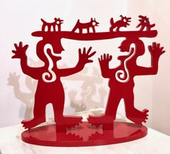 Two Minds Meeting, small red sculpture Melanie Yazzie Native American animals
