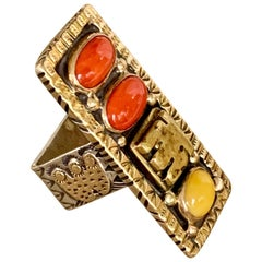 Melanie Deluca Signed Coral Sterling Silver and 14 Karat Yellow Gold Rin -size 7