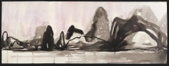 Karst, black and white mountainscape, ink on paper
