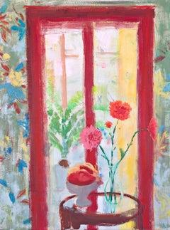 Arezzo Garden Square, Vertical Botanical Still Life, Red, Yellow Interior Scene
