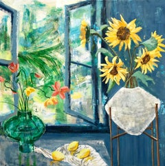 Arezzo Matina, Interior Painting, Botanical Still Life in Blue Yellow Sunflowers