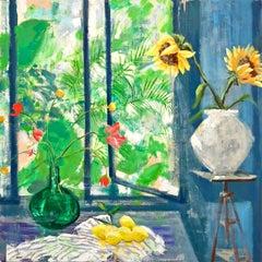 Arezzo Sun, Interior Painting, Botanical Still Life in Blue Yellow Sunflowers