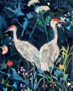 Before You Thought Spring, Vertical Painting of Sandhill Crane Birds, Flowers