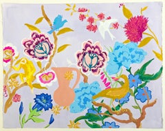 Blue Amber, Painting of Pink, Blue Flowers, Birds, Monkey, Pale Lilac Background