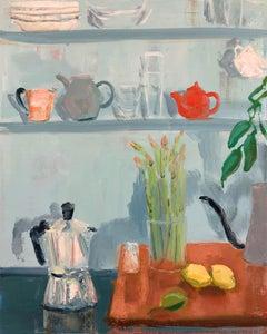 Blue Asparagus, impressionist interior and still life painting