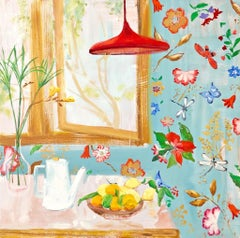 """""""Blue Dane"""" Matisse-like Interior with Window/FruitFlowers/ Bright Blue/Red/Pink"""