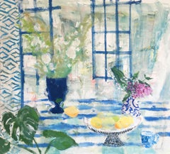 Blue Urn, Interior Still Life, Window and Table with Lemons, Lilac, Blue Vase