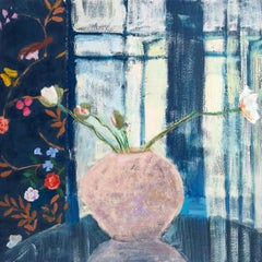 Blue Wren, Interior Painting, Botanical Still Life, Flowers Pink Vase, Navy Room