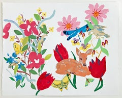 Fawn, Painting of Pink, Red Flowers, Birds, Butterfly, Deer on White Background